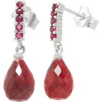 Ruby Briolette Stud Earrings 7 ctw in 9ct White Gold