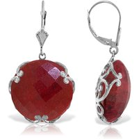 Ruby Chequer Earrings 46 ctw in 9ct White Gold