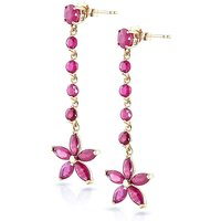Ruby Daisy Chain Drop Earrings 4.8 ctw in 9ct Gold - Jewellery Gifts