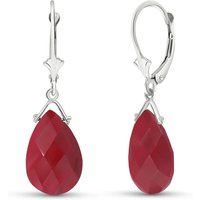 Ruby Droplet Earrings 16 ctw in 9ct White Gold