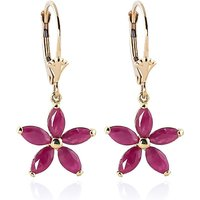 Ruby Flower Star Drop Earrings 2.8 ctw in 9ct Gold - Flower Gifts