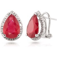 Ruby French Clip Halo Earrings 11.02 ctw in 9ct White Gold