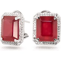 Ruby French Clip Halo Earrings 14.9 ctw in 9ct White Gold