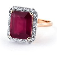 Ruby Halo Ring 7.45 ctw in 9ct Rose Gold