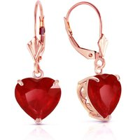 Image of Ruby Large Heart Earrings 8.6 ctw in 9ct Rose Gold