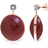 Ruby Stud Earrings 46.06 ctw in 9ct Rose Gold