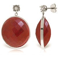 Ruby Stud Earrings 46.06 ctw in 9ct White Gold