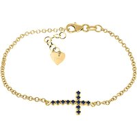 Sapphire Adjustable Cross Bracelet 0.3 ctw in 9ct Gold