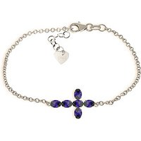 Sapphire Adjustable Cross Bracelet 1.7 ctw in 9ct White Gold