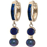 Sapphire & Black Pearl Huggie Earrings in 9ct Gold - Jewellery Gifts