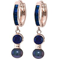 Sapphire and Black Pearl Huggie Earrings in 9ct Rose Gold