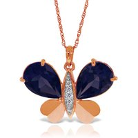 Sapphire & Diamond Butterfly Pendant Necklace in 9ct Rose Gold - Fashion Gifts