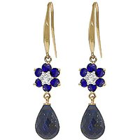 Sapphire & Diamond Daisy Chain Drop Earrings in 9ct Gold - Jewellery Gifts