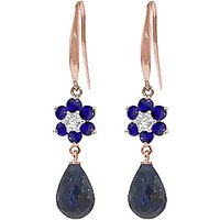 Sapphire and Diamond Daisy Chain Drop Earrings in 9ct Rose Gold