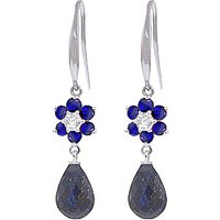 Sapphire and Diamond Daisy Chain Drop Earrings in 9ct White Gold