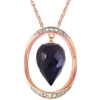 Sapphire & Diamond Drop Pendant Necklace in 9ct Rose Gold - Qp Jewellers Gifts