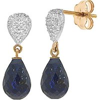 Sapphire & Diamond Droplet Earrings in 9ct Gold - Jewellery Gifts