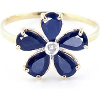 Sapphire and Diamond Five Petal Ring in 9ct Gold