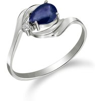 Sapphire and Diamond Flare Ring in 9ct White Gold