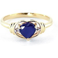Sapphire & Diamond Halo Heart Ring in 9ct Gold - Halo Gifts