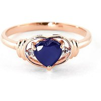 Sapphire & Diamond Halo Heart Ring in 9ct Rose Gold - Halo Gifts