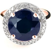 Sapphire and Diamond Halo Ring in 9ct Rose Gold
