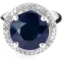 Sapphire and Diamond Halo Ring in 9ct White Gold