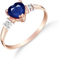 Image of Sapphire & Diamond Heart Ring in 9ct Rose Gold