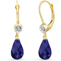 Sapphire and Diamond Illusion Drop Earrings in 9ct Gold
