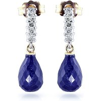 Sapphire & Diamond Stem Droplet Earrings in 9ct Gold - Jewellery Gifts