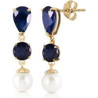 Sapphire and Pearl Drop Earrings in 9ct Gold