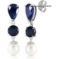 Sapphire and Pearl Drop Earrings in 9ct White Gold