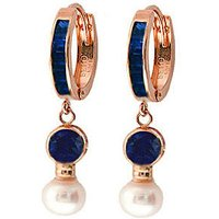 Sapphire and Pearl Huggie Earrings in 9ct Rose Gold