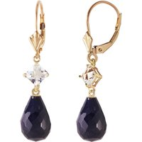 Sapphire and White Topaz Drop Earrings in 9ct Gold