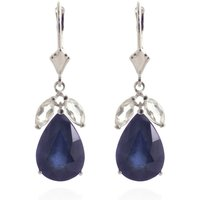 Sapphire and White Topaz Drop Earrings in 9ct White Gold