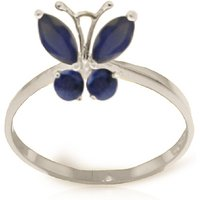 Sapphire Butterfly Ring 0.6 ctw in 9ct White Gold