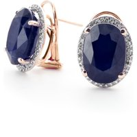 Sapphire French Clip Halo Earrings 13.16 ctw in 9ct Rose Gold
