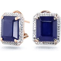 Sapphire French Clip Halo Earrings 13.2 ctw in 9ct Rose Gold