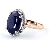 Sapphire Halo Ring 6.58 ctw in 9ct Rose Gold