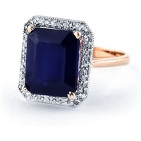 Sapphire Halo Ring 6.6 ctw in 9ct Rose Gold