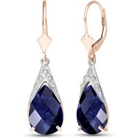 Sapphire Snowcap Drop Earrings 9.3 ctw in 9ct Rose Gold