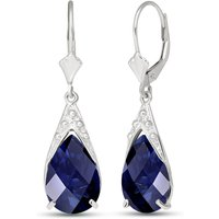 Sapphire Snowcap Drop Earrings 9.3 ctw in 9ct White Gold