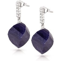 Sapphire Stud Earrings 30.65 ctw in 9ct White Gold
