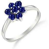 Sapphire Wildflower Cluster Ring 0.66 ctw in 18ct White Gold