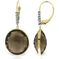 Smoky Quartz Drop Earrings 34.15 ctw in 9ct Gold - Qp Jewellers Gifts