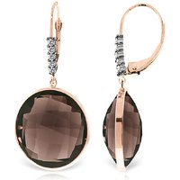 Smoky Quartz Drop Earrings 34.15 ctw in 9ct Rose Gold - Qp Jewellers Gifts