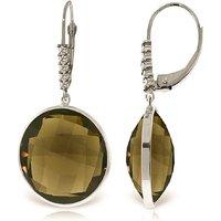 Smoky Quartz Drop Earrings 34.15 ctw in 9ct White Gold - Qp Jewellers Gifts