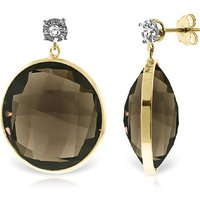 Smoky Quartz Stud Earrings 34.06 ctw in 9ct Gold - Qp Jewellers Gifts