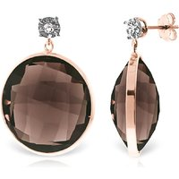 Smoky Quartz Stud Earrings 34.06 ctw in 9ct Rose Gold - Qp Jewellers Gifts