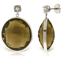 Smoky Quartz Stud Earrings 34.06 ctw in 9ct White Gold - Qp Jewellers Gifts